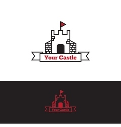 Outline castle with red flag logo vector