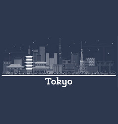 Outline tokyo japan city skyline with white vector