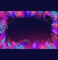 palm leaves frame exotic night jungle tropical vector image