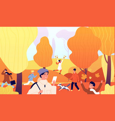 people in autumn park family activities on nature vector image