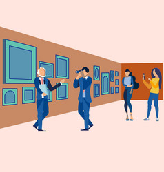 Picture gallery exhibition visit art museum vector