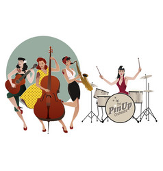 pinup girls band four beautiful and tattooed vector image