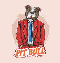 Pit bull dog boss bodyguard artwork vector