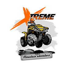 Quad bike atv logo with xtreme mountain adventure vector