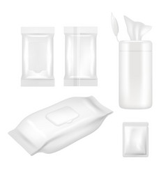 Realistic white blank wet wipes packaging vector