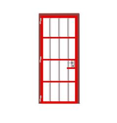 Red door prison interior metal jail cell lattice vector