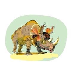 Rhino girl character animal vector image vector image