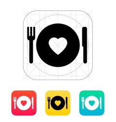 Romantic dinner icon vector