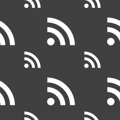 RSS feed icon sign Seamless pattern on a gray vector