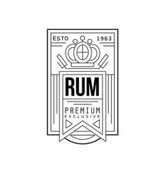rum vintage label design premium exclusive strong vector image