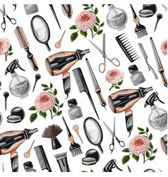 Seamless pattern with hairdresser tools vector