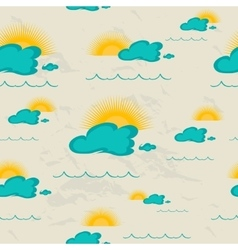 Seamless pattern with sea sun and clouds vector
