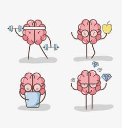 Set icon adorable kawaii brain doing different vector