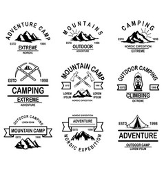 set mountain camp emblem templates design vector image