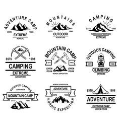 Set mountain camp emblem templates design vector