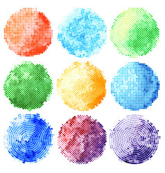 set of abstract halftone colorful circles vector image