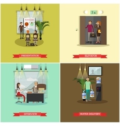 set of business people concept posters vector image