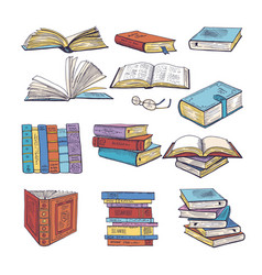 Set of different books encyclopedia dictionary vector