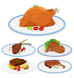 set of meat food on plate vector image