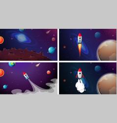 set rockets in solar system vector image