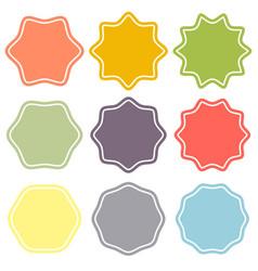 set template label sunburst shapes badges vector image