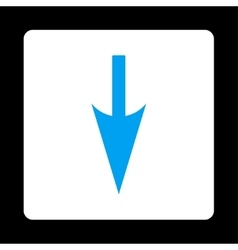 Sharp Down Arrow flat blue and white colors vector image