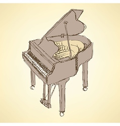 Sketch piano musical insrument vector