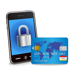 smart phone with padlock and credit card vector image