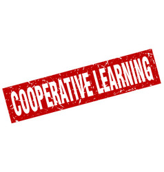 square grunge red cooperative learning stamp vector image
