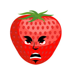 strawberry angry emoji red berry evil emotion vector image