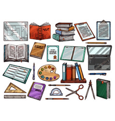 study school books science items sketch vector image