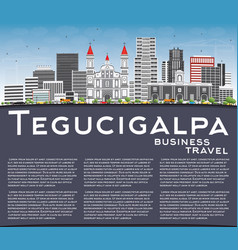 tegucigalpa skyline with gray buildings blue sky vector image