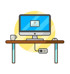 thin line flat computer programmer desk web coder vector image