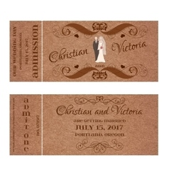 Ticket for Wedding Invitation with bride and groom vector