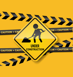 under construction road sign work in progress vector image
