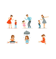 Upset girls sit and parents scold children vector