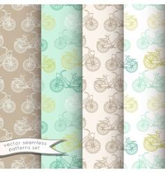 Vintage bicycles seamless patterns set vector