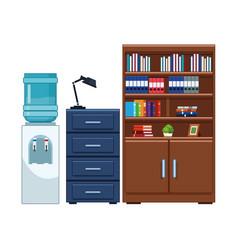 Water dispenser file cabinet and bookshelf vector