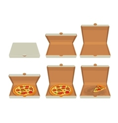 Whole pizza and slices of pizza in closed and open vector image