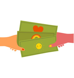 with hands holding cute money banknotes vector image