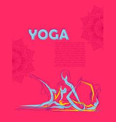 Woman doing asana for international yoga day vector
