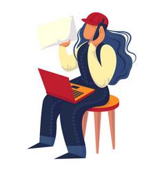 Woman engineer icon cartoon style vector
