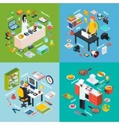 Workplaces Professions 2x2 Isometric Compositions vector