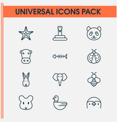 zoo icons set with elephant rabbit snake and vector image