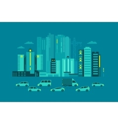 Cars in the city Metropolis street on blue vector image vector image