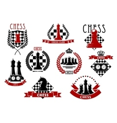 Chess icons with red and black chessmen vector image vector image