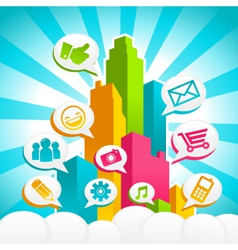 colorful media city vector image vector image