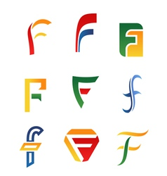 f alphabet symbols and icons vector image vector image
