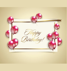 happy birthday banner with golden ribbon and red vector image vector image