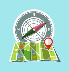 map with red mark and compass icons vector image vector image
